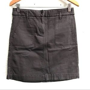 LOFT Gray Utility 100% Cotton Skirt Size 0 Pockets